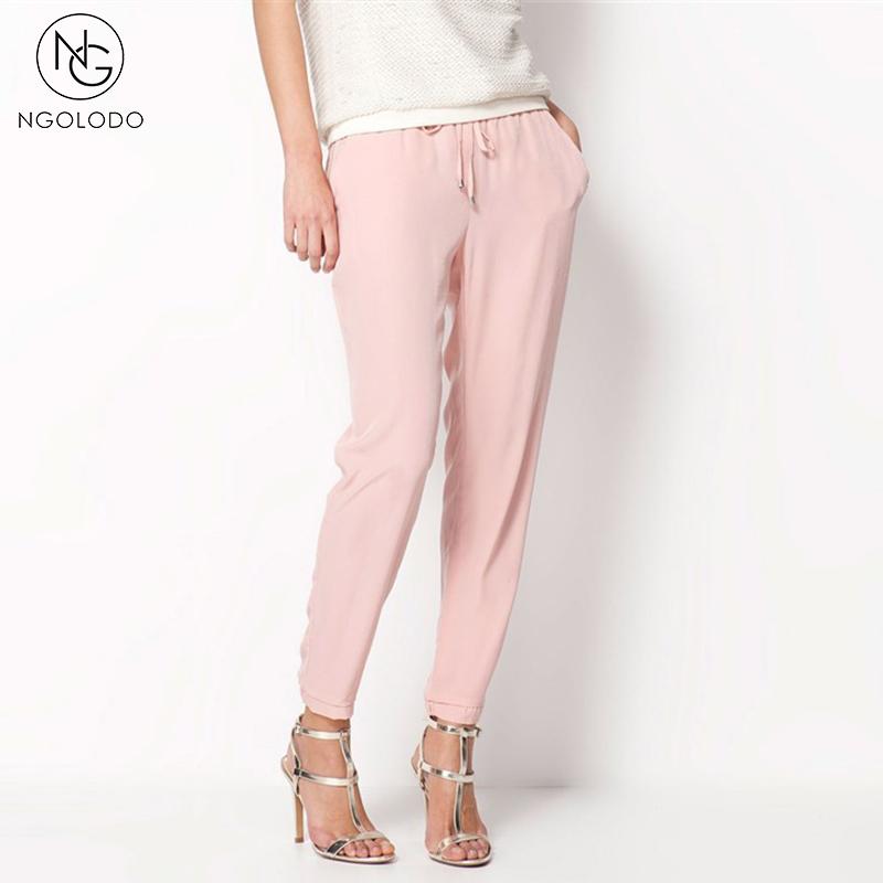 [해외]여성을우아한 캐주얼 바지 여름 우아한 스트레이트 와이드 헐렁한 블랙 핑크색 섹시한시 폰 한렘 패션 여성용 바지/Women Casual Pants for Summer elegant straight wide baggy black pink color sexy Chif