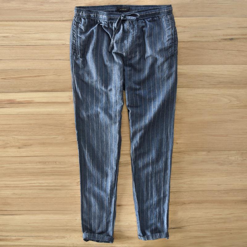 [해외]2017 패션 남자 100 % 린넨 바지 블루 스트라이프 편안한 남성 바지 캐주얼 스트레이트 경량 바지/2017 Fashion Men 100%linen pants blue stripes Comfortable Male trousers casual straight