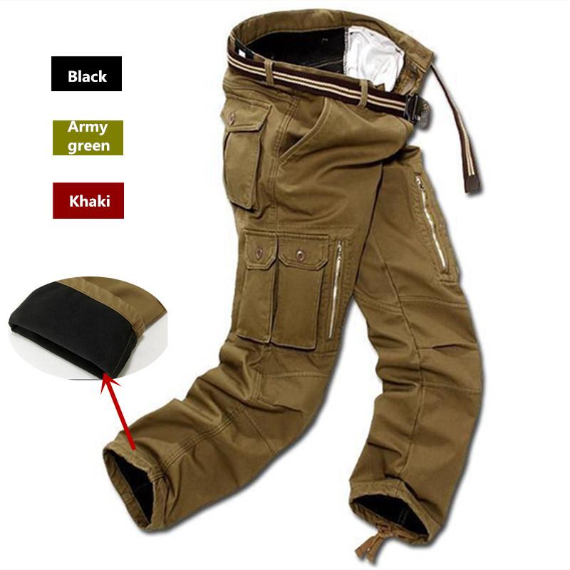 [해외]남성 양털 카고 바지 겨울 두꺼운 웜 바지 전체 길이 멀티 포켓 캐주얼 밀리터리 바지 전술 바지 플러스 사이즈 29-40/Men Fleece Cargo Pants Winter Thick Warm Pants Full Length Multi Pocket Casual