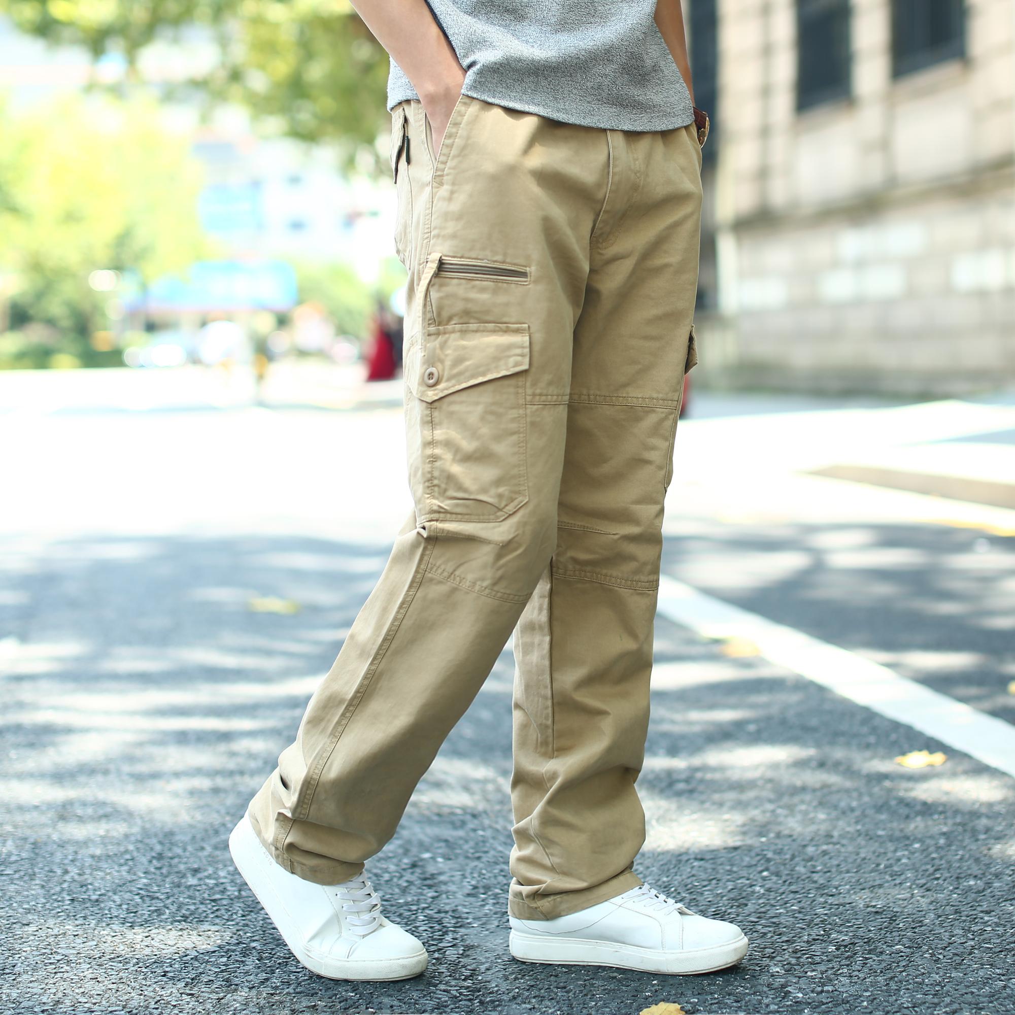 [해외]2017 가을 겨울 남성용 스커트 멀티 포켓 카고 스트레이트 팬츠 남성용 사이즈 S-7XL 50 48 46 44 42 40 38 36/2017 Autumn Winter Men&s TrousersMulti Pocket Cargo Straight Pants Men