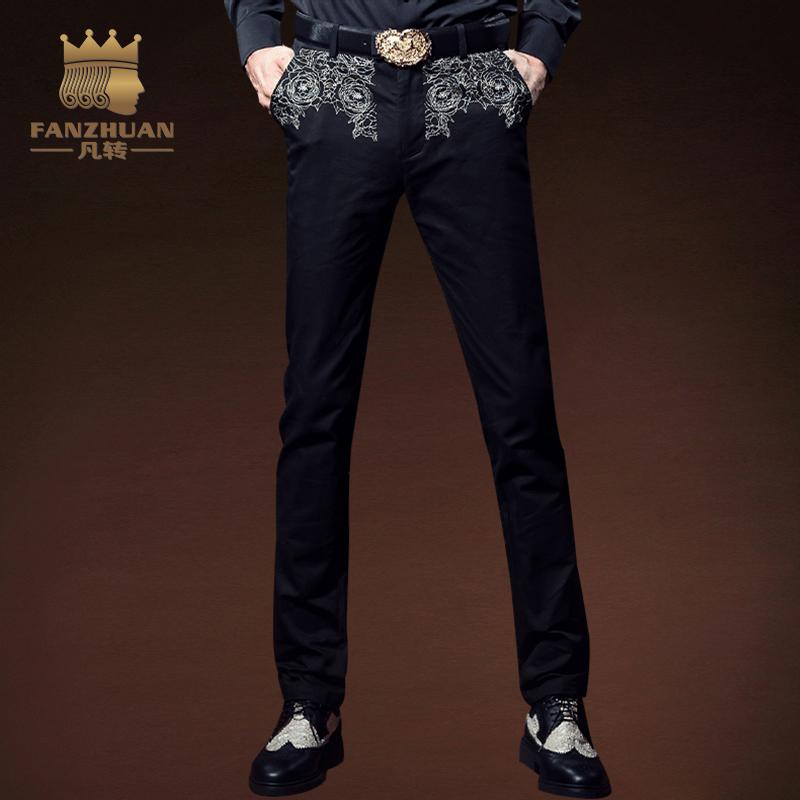 [해외]FANZHUAN 추천 의류 고딕 스타일 자 수 슬림 피트 팬츠 남성 & 캐주얼 바지 남성 바지 남성 전체 길이 스트레이트 바지/FANZHUAN Featured Clothing Gothic Style Embroidery Slim Fit Pants Men&s
