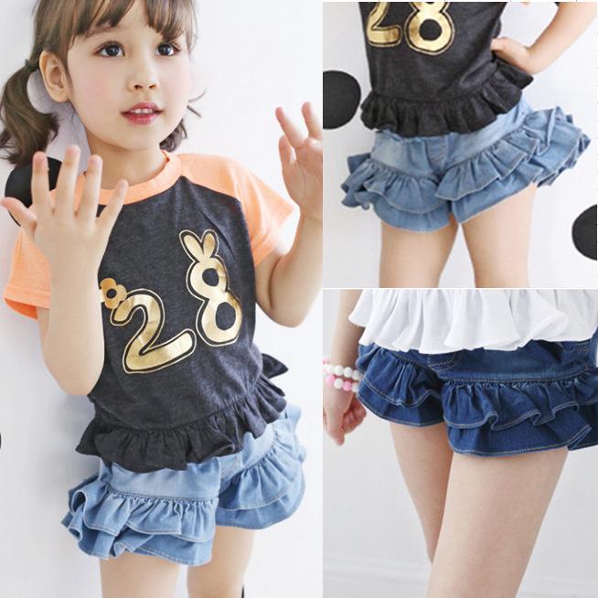 [해외]Kindstraum 2017 새로운 여름 여자 로터스 반바지 최고 품질의 어린이 솔리드 데님 반바지 아이를캐주얼 루즈 바지, RC1339/Kindstraum 2017 New Summer Girls Lotus Shorts Top Quality Children So