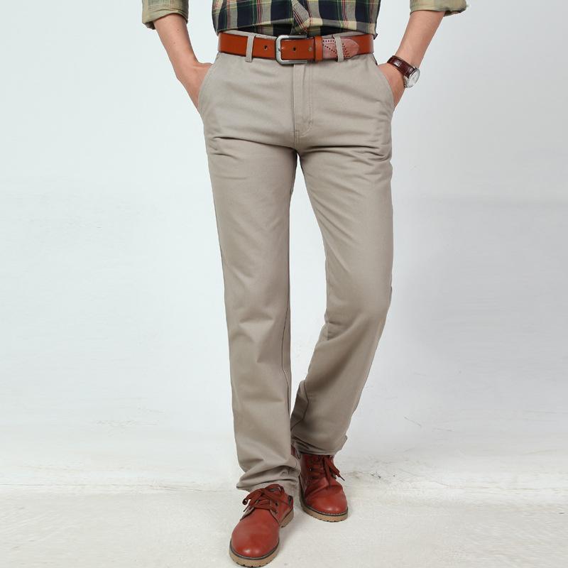 [해외]2017 캐주얼 비즈니스 바지 남성 코튼 솔리드 스트레이트 바지 블랙 카키 루스 바지 플러스 사이즈 29-42 3 색/2017 New Arrival Casual Business Pant Men Cotton Solid Straight Pant Black Khaki