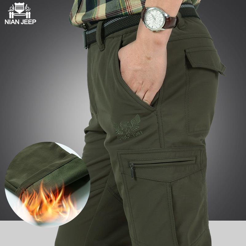 [해외]NIAN JEEP 브랜드 의류 남성 양털 라이너 따뜻한 겨울 바지 캐주얼 스타일 남성 바지 플러스 사이즈 4XL 65/NIAN JEEP Brand Clothing Mens Fleece Liner Warm Winter Pants Casual Style Men Tr