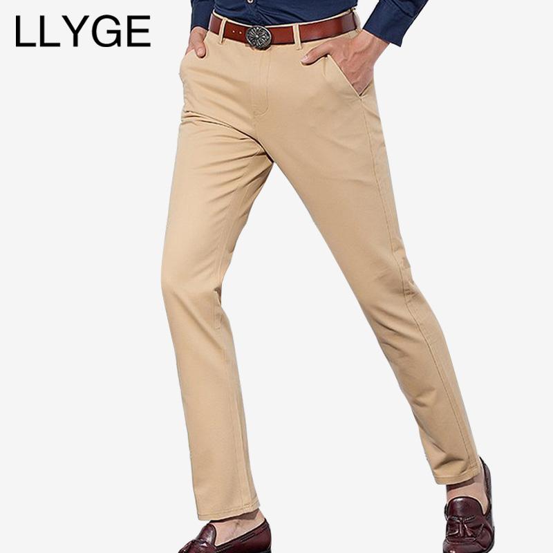 [해외]LLYGE 캐주얼 비즈니스 남성 바지 여름 코튼 중반 스트레이트 바지 클래식 카키 블랙 남성 비즈니스 캐주얼 바지/LLYGE Casual Business Men Pants Summer  Cotton Mid Straight Trousers Classic Khaki
