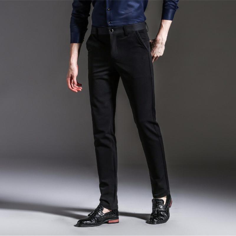 [해외]봄 가을 패션 슬림 피트 캐주얼 팬츠 남성 스트레이트 드레스 남성 탄성 비즈니스 정장 바지 스키니 팬츠/Spring Autumn Fashion slim fit Casual Pants Men Straight Dress Men Elastic Business Suit