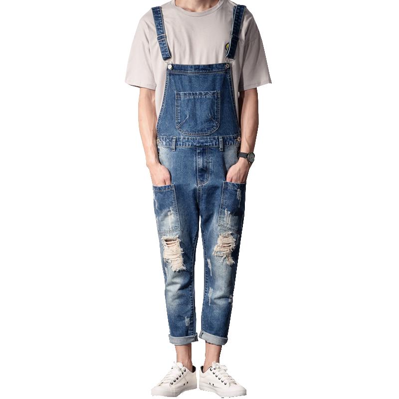 [해외]남자의 캐주얼 발목 길이 바지 구멍 청바지 슬림 패션 점프 수트 찢어진/Men&s casual ankle length overalls Holes ripped jeans Slim fashion jumpsuits