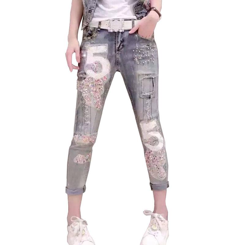 [해외]Women & s Sequined Jeans 빈티지 여름 패션 디지털 스트레치 슬림 스팽킹 된 청바지/Women&s Sequined Jeans Vintage Summer Fashion Digital Stretch Slim Sequined Jeans