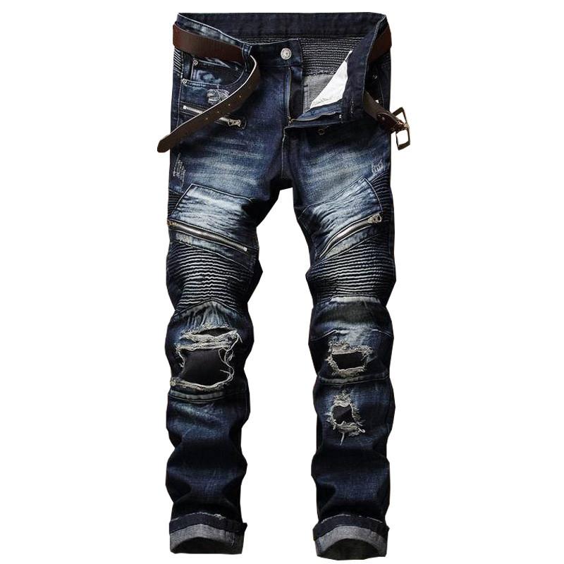 [해외]Newsosoo 브랜드 디자이너 남자 찢어진 패치 모토 청바지 남성 슬림 핏 스트레이트 바이커 데님 바지 바지 악세사리 멀티 지퍼/Newsosoo Brand Designer Man Ripped Patch Moto Jeans Male Slim Fit Straigh