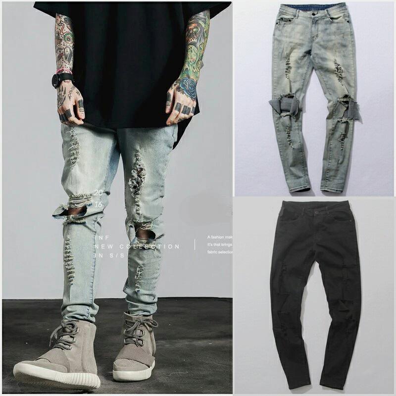 [해외]찢어진 청바지 남성 남성 스키니 고민 슬림 유명 브랜드 디자이너 바이커 힙합 블랙 데님 홀 청바지 바지 Kanye West/Ripped Jeans For Men Male Skinny Distressed Slim Famous Brand Designer Biker