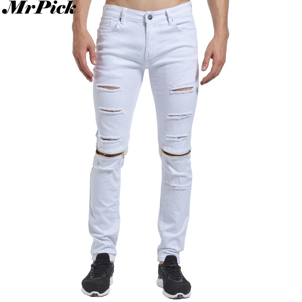 [해외]2017 찢어진 고민 된 무릎 지퍼 스키 니 진 패션 캐주얼 디자이너 브랜드 남자 자전거 타는 사람 필통 청바지/2017 Ripped Distressed Knee Zipper Skinny Jeans Fashion Casual Designer Brand Men B