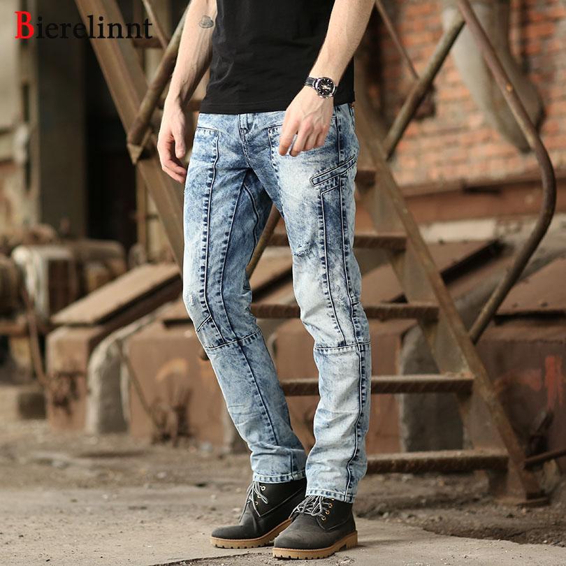 [해외]Bierelinnt 세탁 화이트 패치면 데님 남성 청바지, 찢어진 구멍 2018 패션 스트레이트 슬림 피트 청바지 남성, 570271을 씻어/Bierelinnt Washed White Patch Cotton  Denim Men Jeans,Ripped Hole W