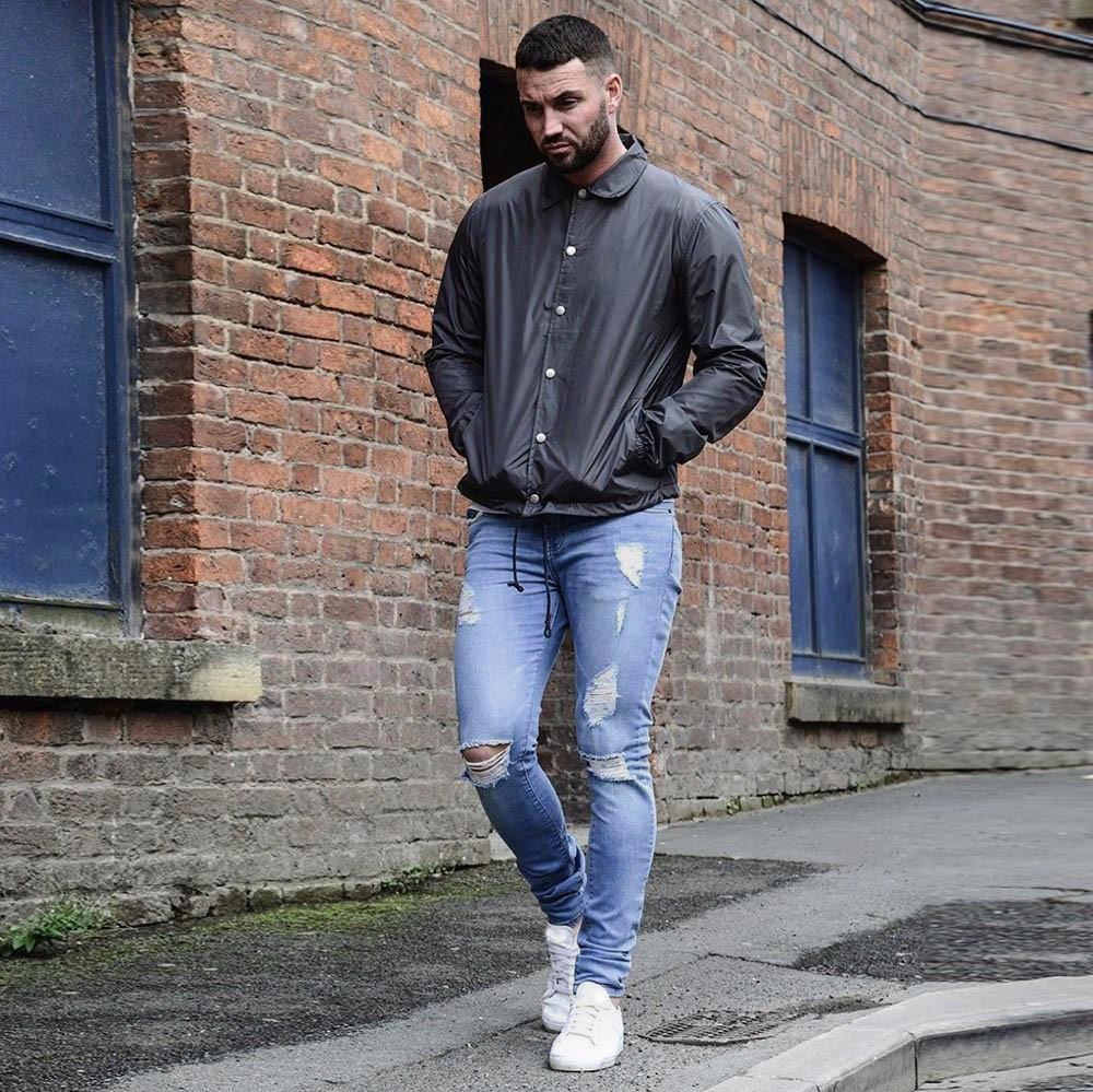 [해외]남성 청바지 슈퍼 스트레치 데님 청바지는 슬림 피트 바지를 망 New다 New Jans Mens 패션 데님 09/Men&s Jeans Super Stretch Denim Jeans Destroyed Slim Fit Pants New Jeans Mens Fashi