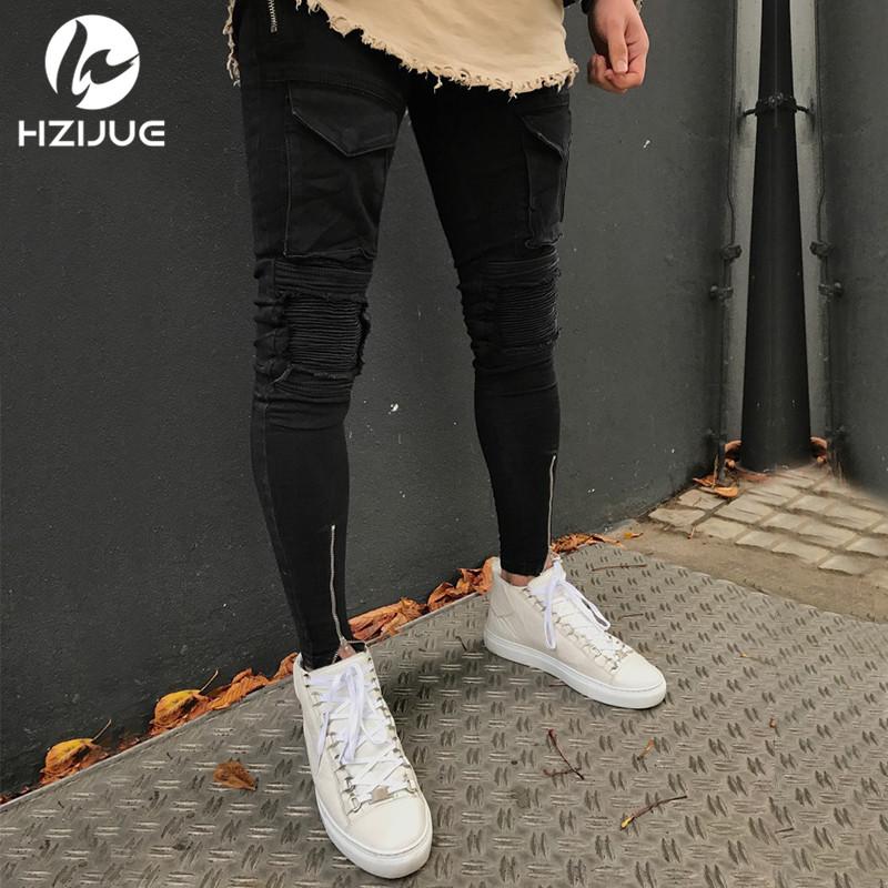 [해외]HZIJUE Cool Mens 힙합 2018 Retail 청바지 스키니 펜슬 남성 데님 바지는 남성용 악세사리 찢어진 청바지를 파괴했습니다./HZIJUE Cool Mens Hip Hop 2018 retail Jeans Skinny Pencil Men Denim