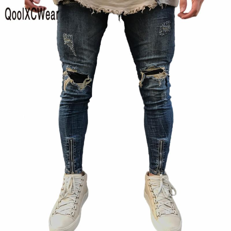 [해외]QoolXCWear 브랜드 디자이너 슬림 피트 찢어진 청바지 남성 하이 스트리트 망 고민 데님 조깅 스 무릎 구멍 세척 된 바지/QoolXCWear Brand Designer Slim Fit Ripped Jeans Men Hi-Street Mens Distres