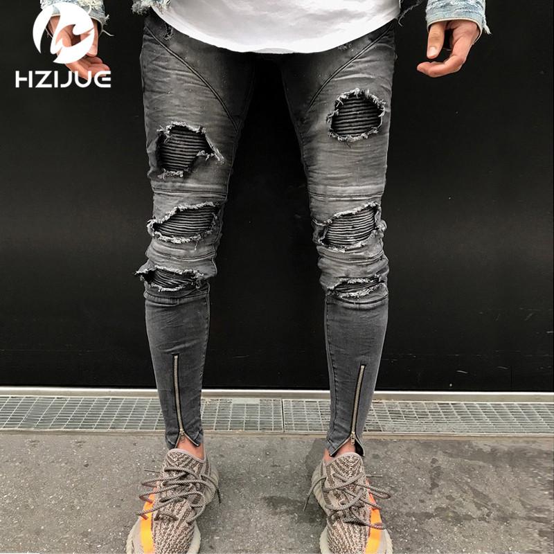 [해외]HZIJUE 2018 뉴 지퍼 지퍼 스트레치 니 찢어진 바이커 청바지 남성 홀 힙합 브랜드 의류 스키 니 진 패션 브랜드 남성 바지/HZIJUE 2018 New Hem Zipper Stretch Knee Ripped biker Jeans Men Hole Hip