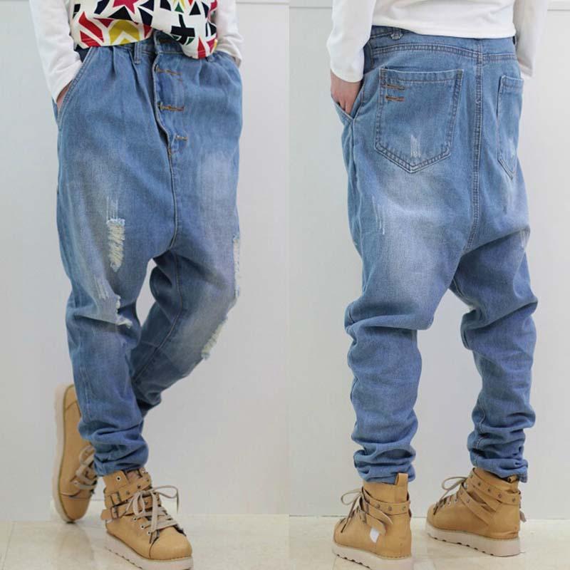 [해외]블루 찢어진 청바지 남자 하렘 데님 바지 American Baggy Jeans 느슨한 바지 큰 사이즈 28-36/Blue Ripped Jeans Men Harem Denim Pants American Baggy Jeans Loose Trousers Large S