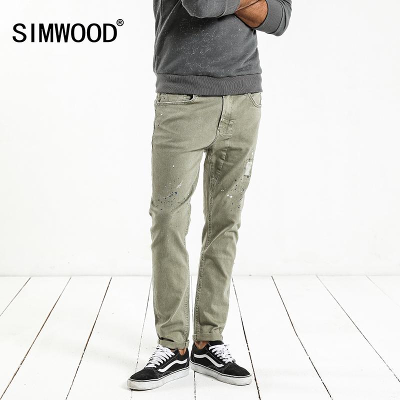 [해외]SIMWOOD 패션 페인트 스 플랫 2018 빈티지 남자 청바지 캐주얼 홀 지퍼 데님 바지 남자 바지 플러스 크기 NC017053/SIMWOOD Fashion Paint Splat 2018 Vintage Men Jeans Casual Hole Zipper Den