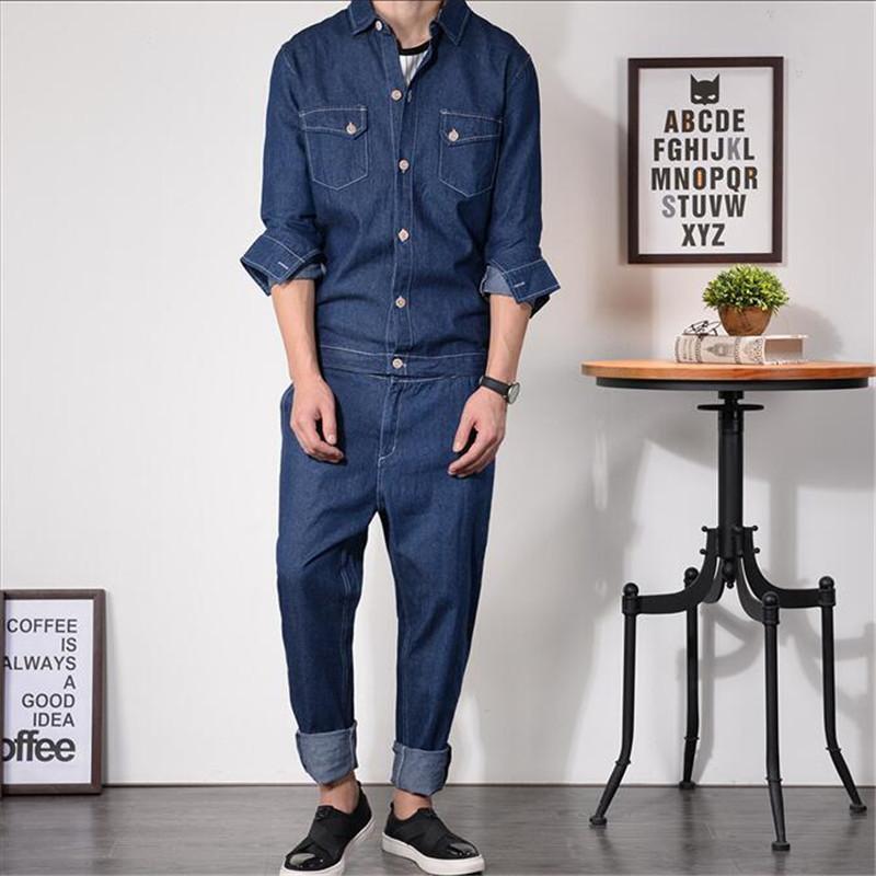 [해외]엉덩이 Hot Rompers Jumpsuit 바지 빈티지 청바지 남자 Overalls 슬림 데님 Rompers 가을 패션 인쇄 단색 바지 A5209/Hip Hot Rompers Jumpsuit Pants Vintage Jeans Man Overalls Slim