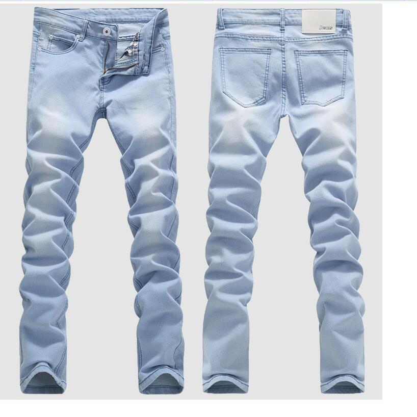 [해외]?라이트 블루 스키 니 청바지 남자 봄 여름 슬림 데님 청바지 남성 코튼 탄성 데님 바지 카우보이 바지/ Light Blue Skinny Jeans Men Spring Summer Slim Denim Jeans Men Cotton Elastic Denim Pan