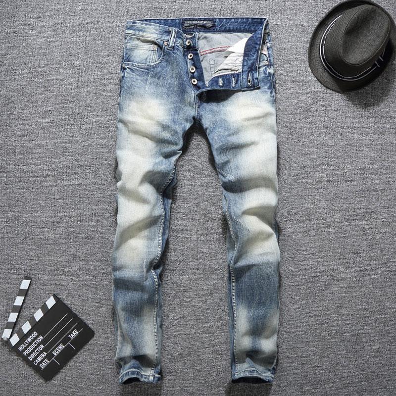 [해외]이탈리아 디자이너 패션 남자 청바지 슬림 피트 라이트 블루 컬러 버튼 청바지 탄성 긴 바지 Balplein 브랜드 클래식 청바지 남자/Italian Designer Fashion Men Jeans Slim Fit Light Blue Color Button Jea