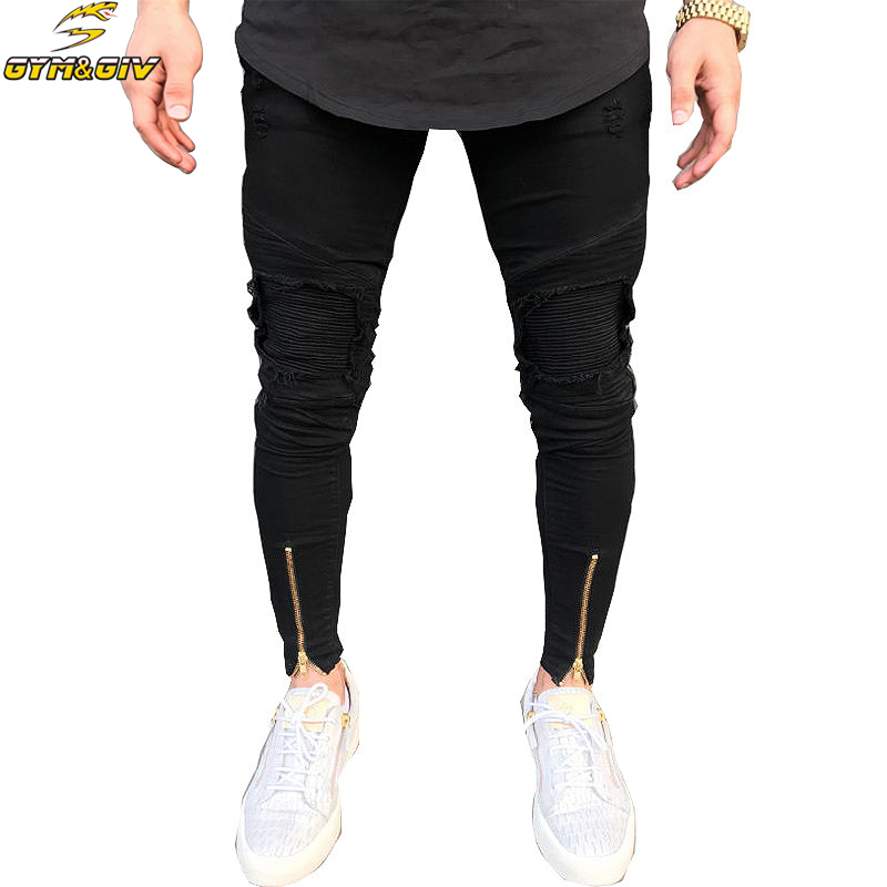 [해외]2018 새로운 자전거 타는 사람 청바지 망자 조깅 바지 스트레칭 찢어진 검은 데님 파괴 바닥 지퍼 청바지 옴므 바지 플러스 사이즈/2018 new biker Jeans Mens Joggers Pants Stretch Ripped Black Denim Destr