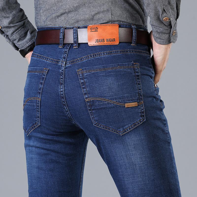 [해외]HCXY 2018 spring Men 청바지 비즈니스 캐주얼 스트레이트 슬림 피트 핏 품질 원단 데님 바지 바지 클래식 카우보이 사이즈 42/HCXY  2018 spring Men Jeans Business Casual Straight Slim Fit Jeans