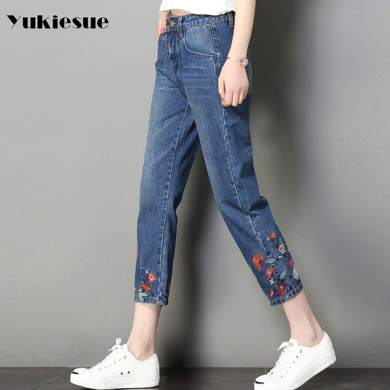 [해외]자수 청바지 여성 2017 높은 wasit 빈티지 데님 청바지 여성 느슨한 넓은 다리 바지 청바지 남자 친구 플러스 크기 여자/Embroidery jeans female 2017 high wasit vintage denim jeans women loose wid