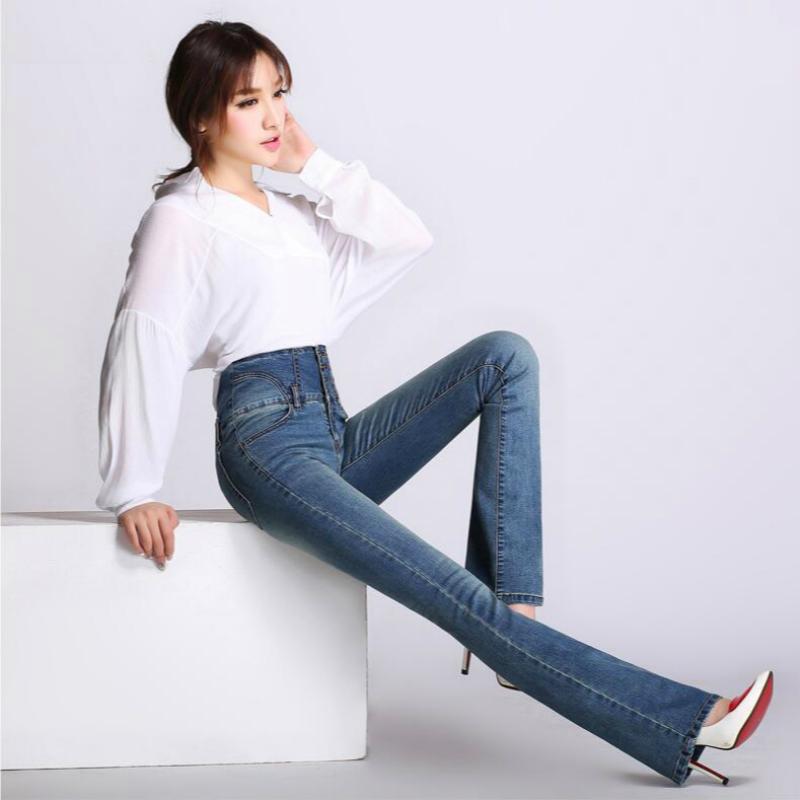 [해외]2018 새로운 봄, 가을 패션 캐주얼 면화 탄성 플러스 크기 높은 허리 여성 여성의 여자 플레어 바지 청바지의 옷을 79106/2018 new spring and autumn Fashion casual cotton Elastic plus size high wa