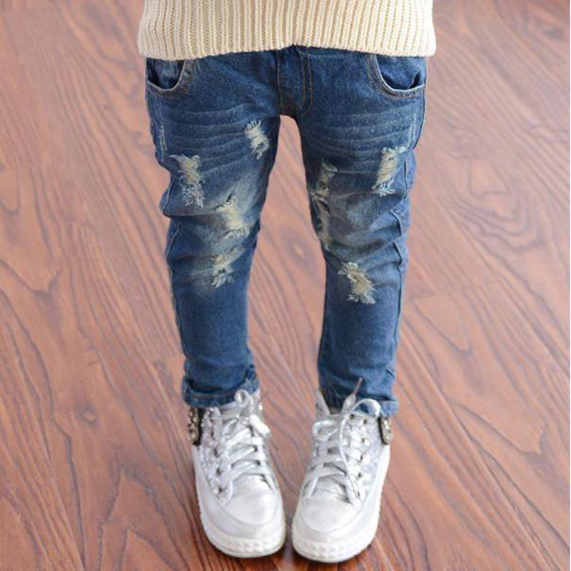 [해외]2018 봄 가을 소녀 청바지 패션 부러진 아이 소녀 청바지 유아 소녀 모든 경기 브랜드 바지 아동복/2018 Spring Autumn Girls Jeans fashion broken hole kids jeans for girls Toddler Girls All
