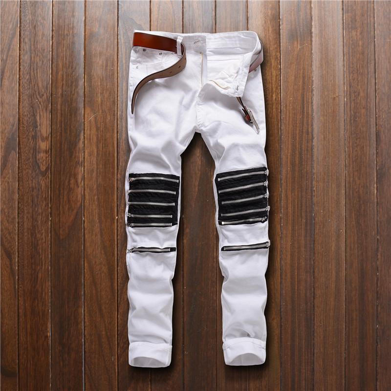 [해외]모토 바이 커 청바지 남성 슬림 화이트 청바지 여러 지퍼 데님 롱 청바지 남자 봄 탄성 스키 니 청바지/Moto Biker Jeans Men Slim White Jeans Multiple zippers Denim Long Jeans Men Spring Elast