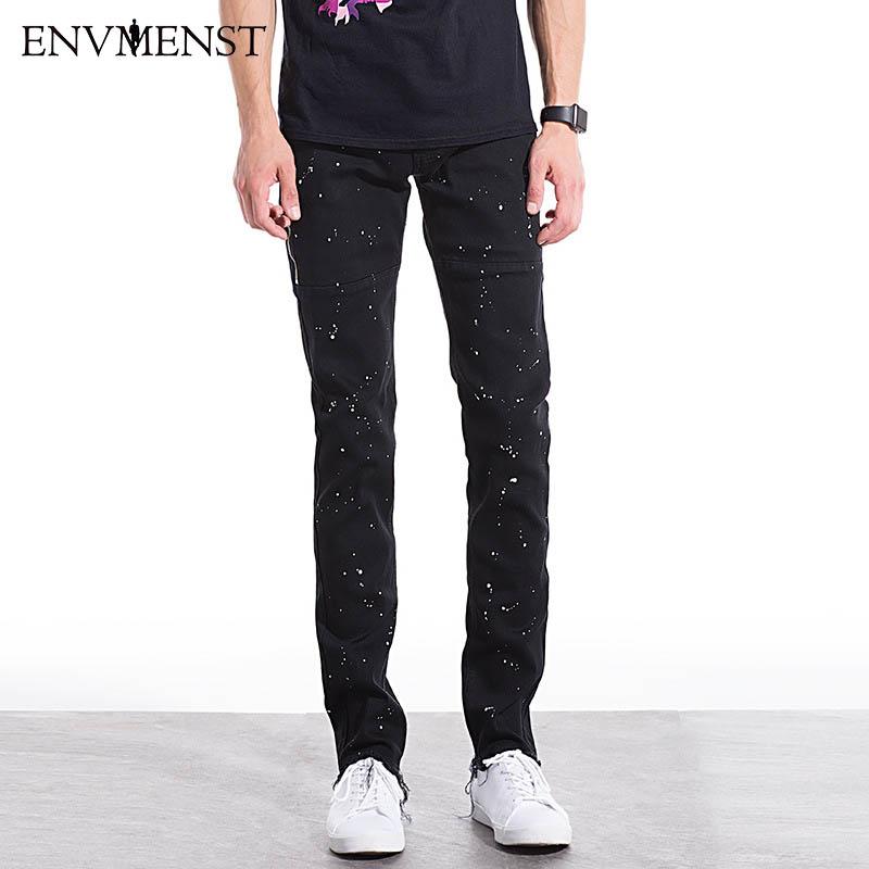 [해외]2017 브랜드 의류 남성 지퍼 청바지 패션 포인트 페인트 블랙 데님 바지 비어 밑단 모토 바이커 록 스타 힙합 펑크 청바지/2017 Brand Clothing Men Zipper Jeans Fashion Points Paint Black Denim Pants