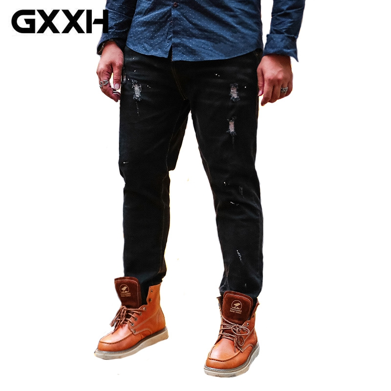 [해외]큰 사이즈 플러스 XXL-7XL 2017 GXXH 브랜드 남성 청바지 클래식 홀 남성 캐주얼 데님 바지 남성 블랙 진 바지 남성 4XL 5XL 6XL/Big Size Plus XXL-7XL 2017 GXXH Brand Men Jeans Classic Holes