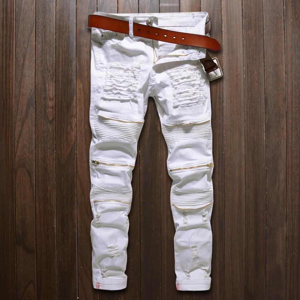 [해외]패션 Mens 찢어진 바이커 청바지 힙합 오토바이 데님 바지 Kneee 지퍼 화이트 블랙 레드 슬림 맞는 진 바지 남성용/Fashion Mens Ripped Biker Jeans Hip Hop Motorcycle Denim PantsKnee Zippers Whi
