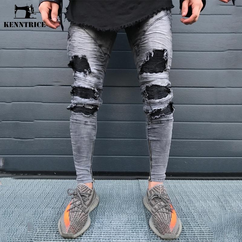 [해외]KENNTRICE 힙합 인기있는 하이 스트리트 펑크 남성을찢어진 청바지 구멍을 뚫은 탄성 데님 청바지 바지 스트레이트/KENNTRICE Hip Hop Popular High Street Punk Ripped Jeans For Men Hole Destroyed E