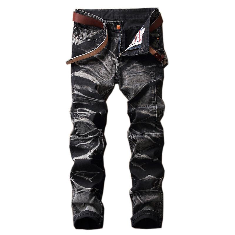 [해외]가을 겨울 외국 블랙 캐주얼 청바지 남성 스트레이트 레트로 패치 워크 카우보이 데님 바지 고품질 인쇄 청바지 남성/autumn winter foreign black casual jeans men wash straight retro patchwork cowboy