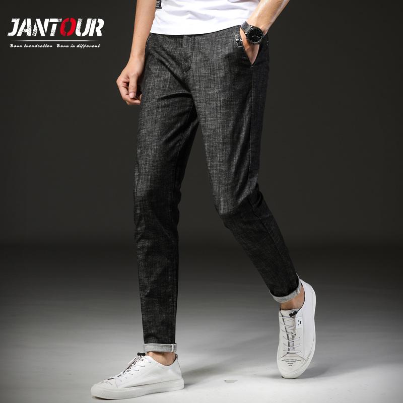 [해외]jantour 2018 새로운 브랜드 남성 청바지 슬림 스트레치 데님 일반 남성 진 바지 남성용 바지 바지 발목 길이 바지 블랙 청바지 남자/jantour 2018 new Brand Men Jeans slim Stretch Denim Regular Men Jea
