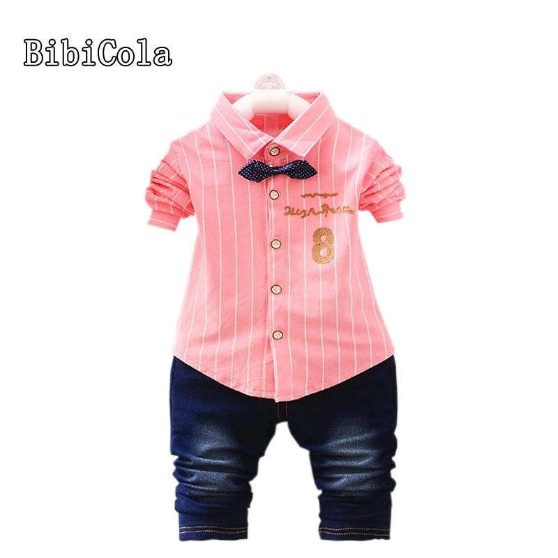[해외]BibiCola 가을 아기 소년 의류 세트 스트 라이프 긴 Retail 티셔츠 + 청바지 2pcs 세트 유아 어린이 소년 패션 의류 세트/BibiCola autumn baby boys clothing set striped long sleeves  t-shirt+