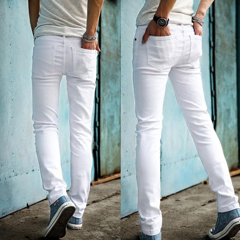 [해외]?2018 패션 슬림 남성 화이트 청바지 남성용 바지 남성 캐주얼 팬티 스키니 펜슬 바지 Boys Hip Hop pantalon homme/ 2018 Fashion Slim Male White Jeans Men&s trousers Mens Casual Pants