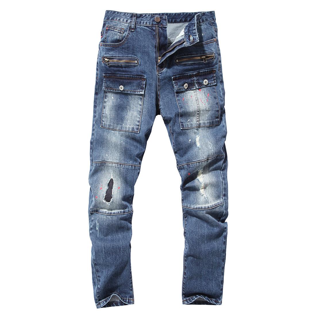 [해외]2018 Mens LegHole 스트레이트 슬림 바이커 데님 청바지 바지 스키니 팬츠/2018 Mens LegHole Straight Slim Biker Denim Jeans Trousers Skinny Pants