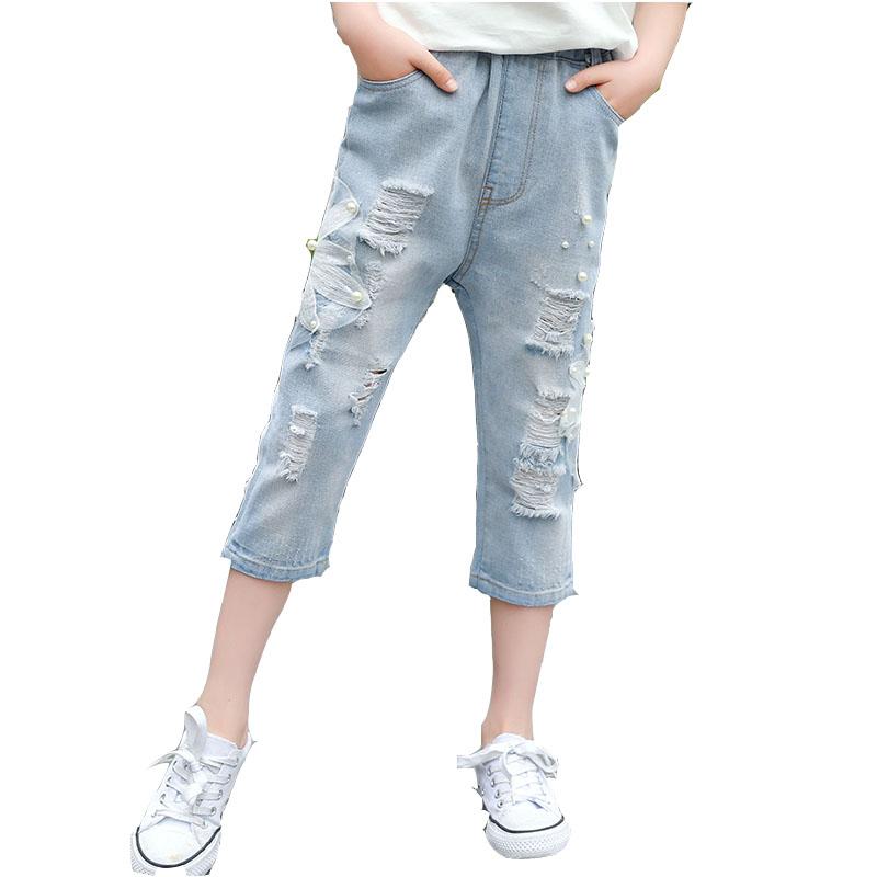 [해외]여름 소녀 청바지 패션 진주 어린이 7 분 바지 아기 소녀 면화 캐주얼 바지 아동 의류 패치 워크 아이 바지/Summer Girls Jeans Fashion pearl Children 7 minutes pants Baby girls cotton casual pa