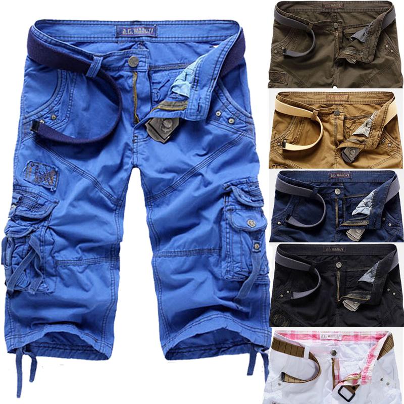 [해외]2016 여름 패션 멀티 포켓면 느슨한 카프리 바지 - 남성 롱 카고 반바지 헐렁한 3/4 바지 블루 화이트 카키 블랙/2016 Summer Fashion Multi Pocket Cotton Loose Capri-Pants-Men Long Cargo Shorts