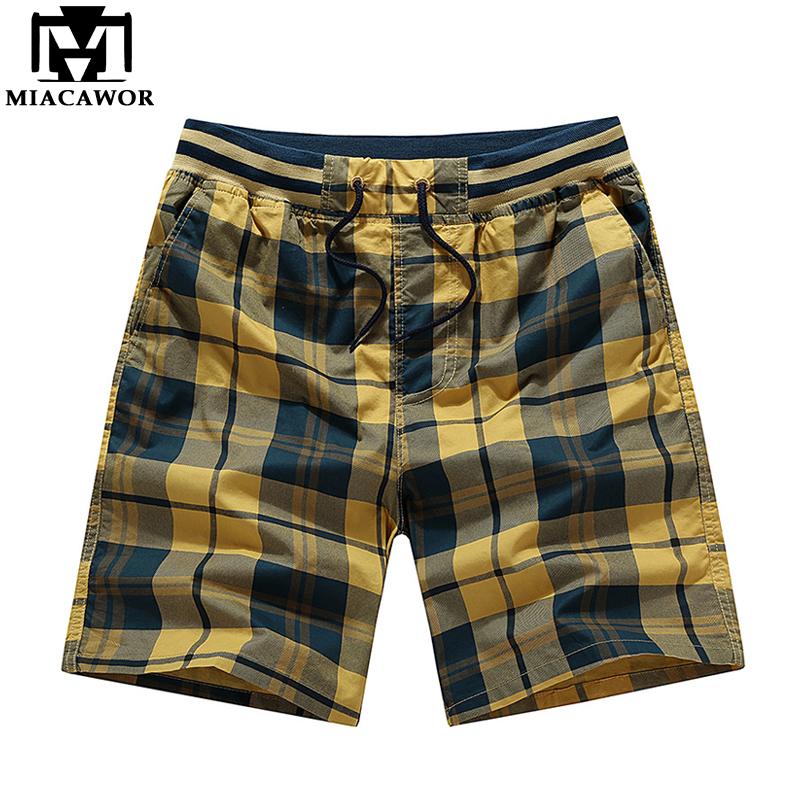 [해외]MIACAWOR 새 여름 격자 무늬 캐주얼 남성 반바지 코튼 슬림 피트 보드 반 옴 패션 비치 반바지 남성 의류 플러스 사이즈 K806/MIACAWOR New Summer Plaid Casual Men Shorts Cotton Slim Fit Board Shor