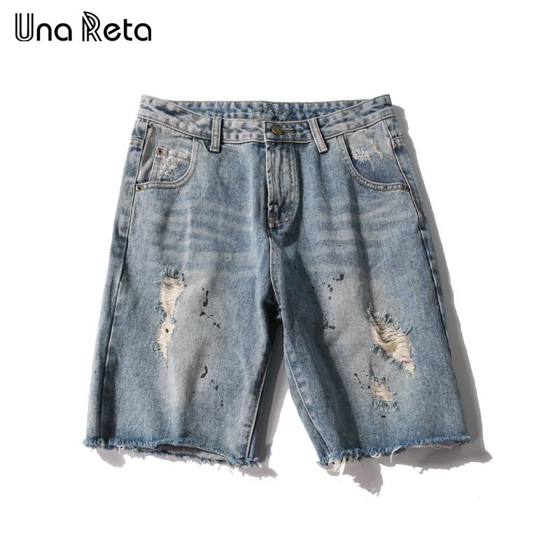 [해외]?Una Reta 2018 여름 캐주얼 데님 반바지 남성 청바지 구멍 찢어진 브랜드 의류 무릎 길이 힙합 거리 남성 반바지/ Una Reta 2018 Summer New Casual Denim Shorts Men Jeans Hole Ripped Brand Clo