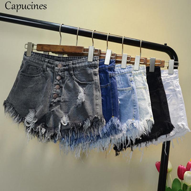 [해외]Capucines 빈티지 찢어진 구멍 술 블루 데님 반바지 2018 여름 여성 캐주얼 포켓 진 반바지 하이 웨스트 여자 핫 반바지/Capucines Vintage Ripped Hole Tassel Blue Denim Shorts 2018 Summer Women