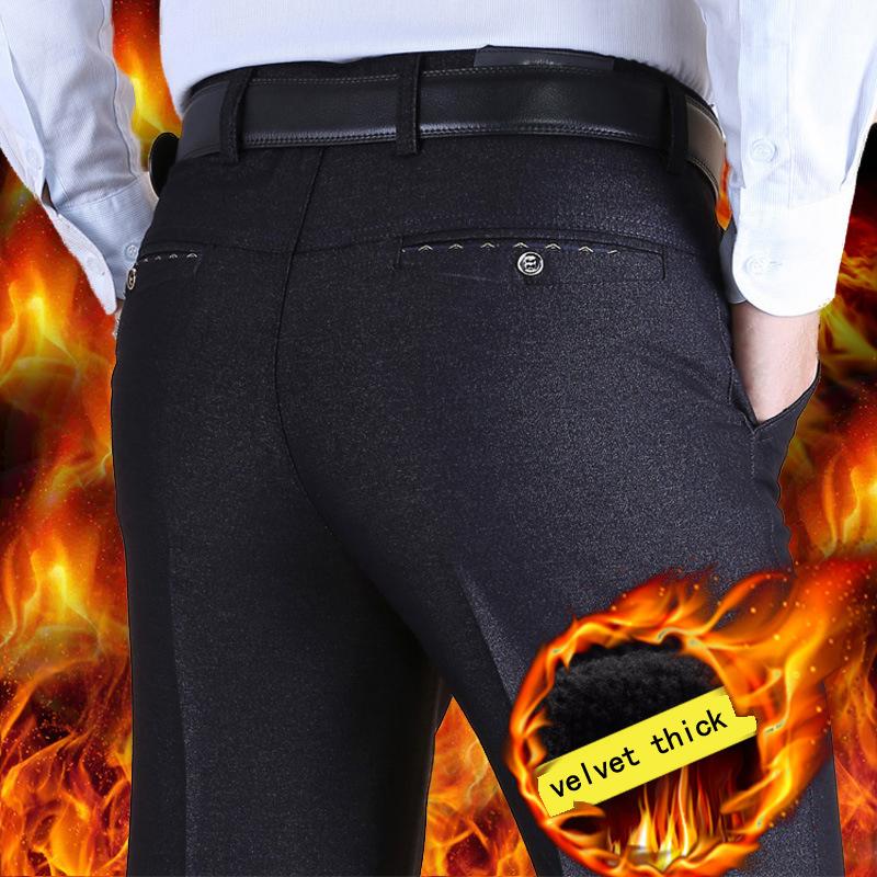 [해외]가을 겨울 모델 플러스 벨벳 정장 바지 중간 망 캐주얼 바지 남성 느슨한 겨울 클래식 남성 복장 바지/autumn winter models plus velvet thicken suits pants Middle aged mens casual pants male l