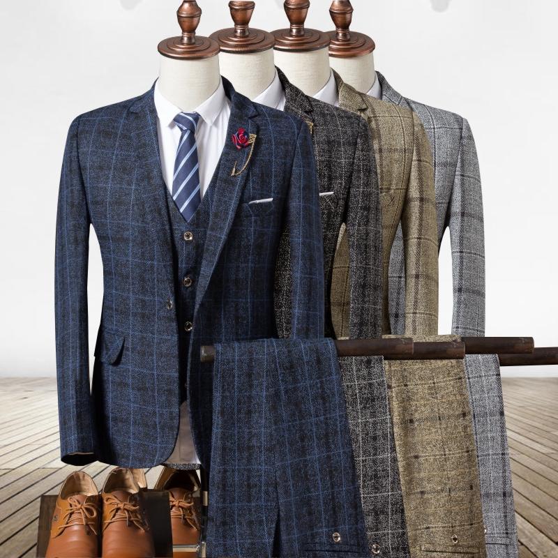 [해외]S M 2XL 3XL 격자 무늬 남성용 긴 Retail 양복 조끼 + 바지 + 조끼 Blue Grey 카키색 패션 비즈니스 결혼식 연회 3 Pieces Suit/S M 2XL 3XL  Plaid Men&s Long Sleeve Suit Jackets + Pant