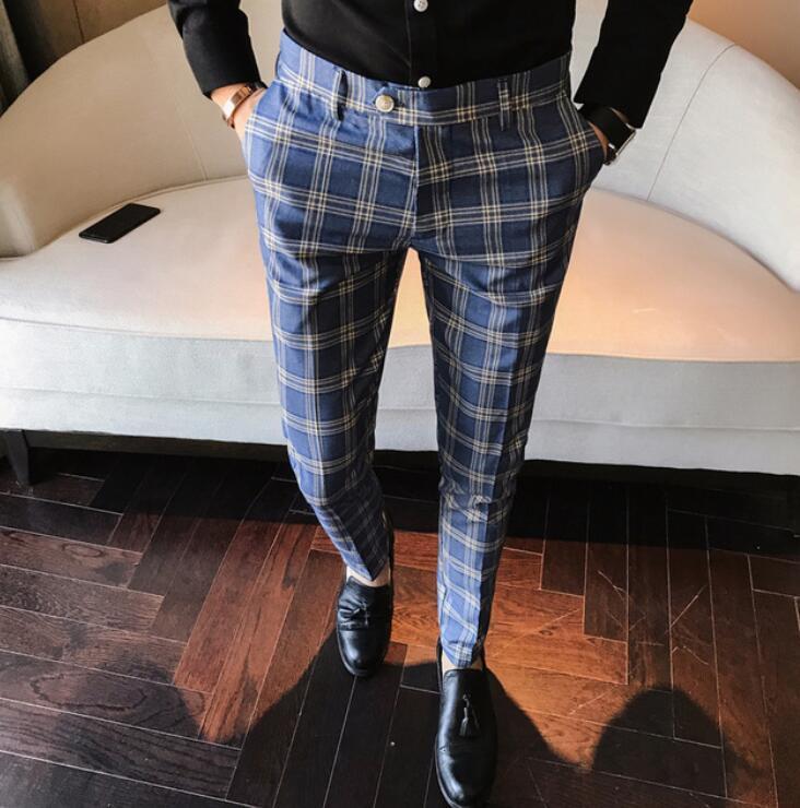 [해외]2018 남성 복장 바지 격자 무늬 비즈니스 캐주얼 슬림 피트 팬터 런 캐롤 옴므 클래식 빈티지 체크 양복 바지 웨딩 바지/2018 Men Dress Pant Plaid Business Casual Slim Fit Pantalon A Carreau Homme C