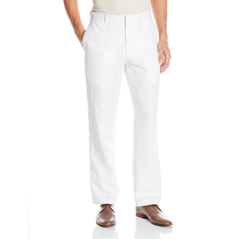 [해외]사용자 정의 만든 새 스타일 백인 남자 & 쉬운 관리 리넨 혼합 평면 앞 바지 웨딩 바지 파티 / 신랑 정장 바지/Custom Made New Style White Men&s Easy Care Linen Blend Flat Front Pant Weddin