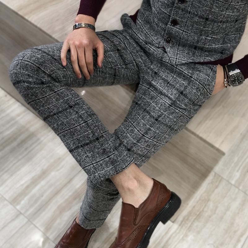 [해외]2018 새로운 남자 패션 복장 격자 무늬 공식 비즈니스 정장 바지 남자 & s의 웨딩 드레스 정장 바지 브랜드 남성 & 캐주얼 바지 남성/2018 New Men&s Fashion Boutique Plaid Formal Business Suit P